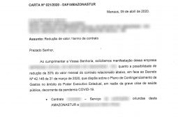 Amazonastur comunica fornecedores sobre redução no valor dos contratos